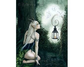 Woodland Magic fantasy art ACEO print Elf Fairy Nymph Moths Forest Artist Trading Cards ATC Fantasy Art