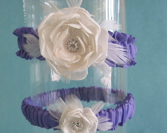 Wedding Garter, Bridal garter set, Lavender, Ivory, Garters, Set A021,  wedding accessories