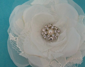Bridal Hair Flower,  Ivory Lace, Organza and Tulle Rose Hair Clip L051, bridal hair accessory