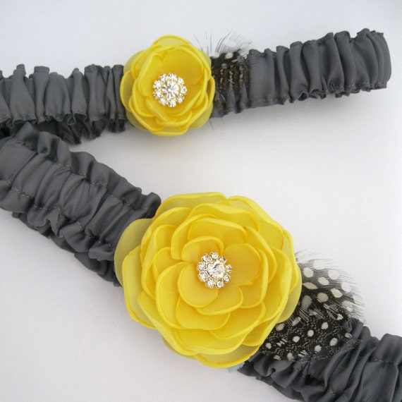 Garter Pewter Gray And Canary Yellow Rose Garter By