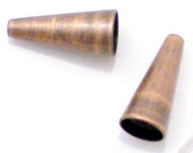 12 Cones Solid Brass w/Antiqued Copper Plated Patina 12 x 6mm SBC-1AC