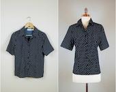 Navy blue POLK DOT blouse / Button down polka dot blouse