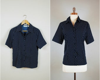 Navy blue POLK DOT blouse / Button down polka dot blouse