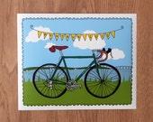 "bicycle portrait - custom art - includes 8""x10"" art print"