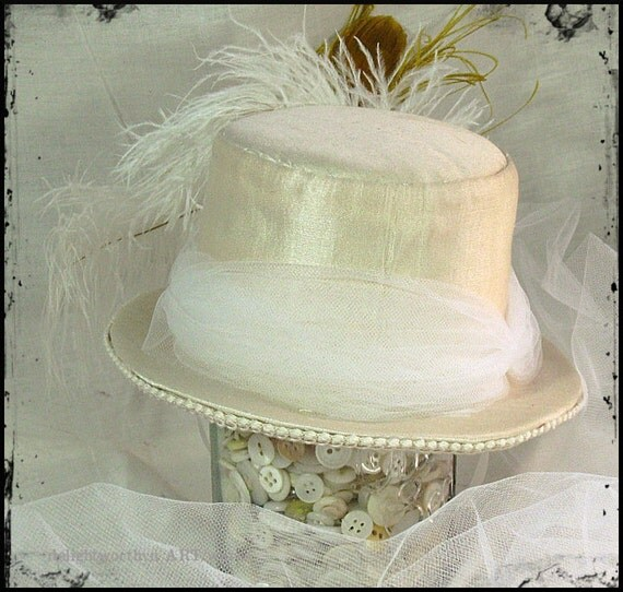 White Edwardian Mini Top Hat