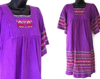 70s 80s Purple with Colorful Geometric Embroidery Ethnic Cotton Dress S