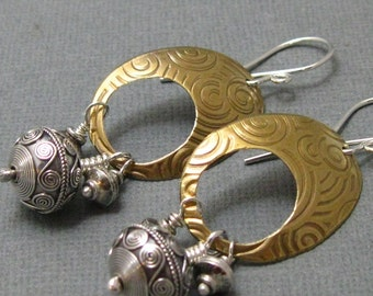 Mixed Metal Chandelier Earrings in Brass  and Sterling Silver, Artisan Handmade Mixed Metal Dangle Earrings