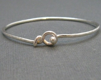 Sterling Hammered Skinny  Bangle Bracelet, Sterling Silver Handmade Hook Bangle Artisan Jewelry