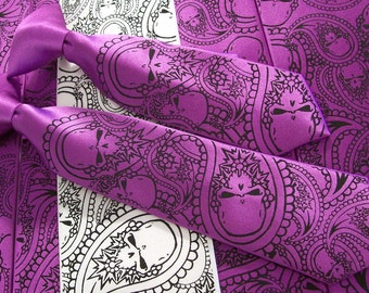 RokGear Neckties - Wedding Skull ties set of 5 mens neckties and 1 matching boys necktie, Paisley skull ties - print to order in your colors