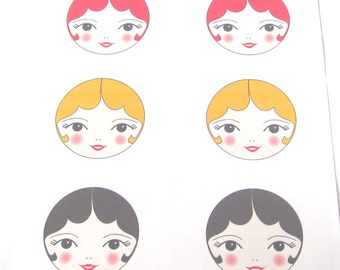 PDF Printable Art - Doll Face Transfers iron on doll faces - Tamara