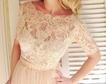 Ballade del Vientre blush pink bridal lace top pale pink lace blouse blush champagne bridal bolero jacket wedding bolero