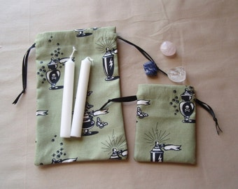 Sage Green Apothecary and Potion Bottles Cotton Drawstring Pouches - Set of 3 Different Sizes