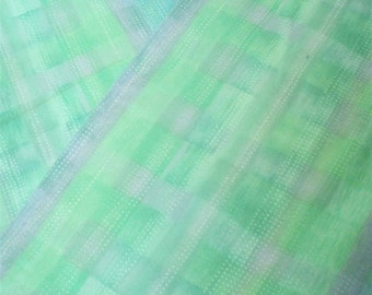 Spring Green Stripe Fabric-- ONE yard