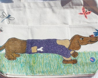 Dachshund Tote Bag Spring Long Doxie With Bugs Flowers Hand Drawn Art Work Medium Size With 3 Pockets