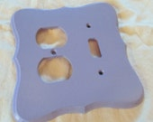 LILAC painted wooden combination light switch/electrical outlet cover