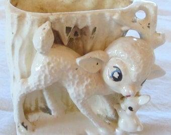 vintage LAMB PLANTER --little lamb and bunny--  ceramic