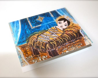 The Star - Baby Jesus - Greeting Card 5 x 7 inches - Folk Art By FLOR LARIOS