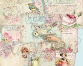 RUSTIC POST CARDS Collage Digital Images -printable download file Digital Collage Sheet Vintage Paper Scrapbook