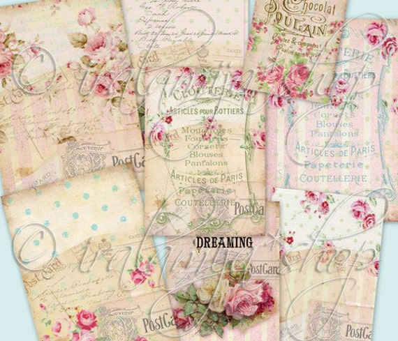 PINK SUGAR tags Collage Digital Images -printable download file- Digital Collage Sheet Vintage Paper Scrapbook Jewelry Holders