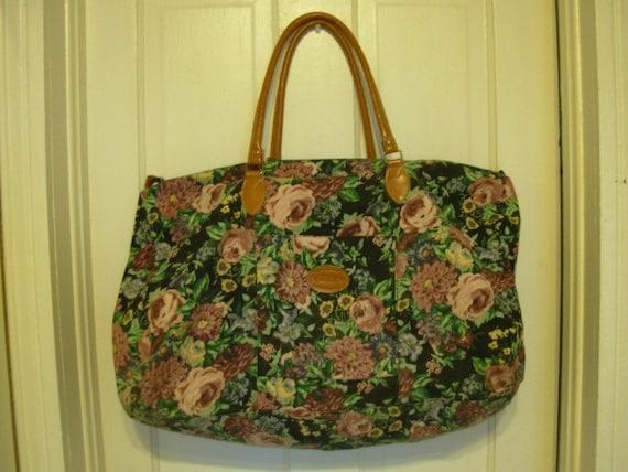 Vintage Oversize Floral Tapestry Duffle Bag