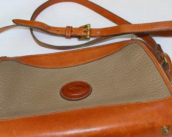 Vintage Dooney and Bourke Purse Tan and Brown Leather All Weather Leather Authentic Handbag Cross Body Purse Pocketbook Handbag Long Strap