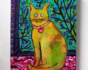 Original Cat Painting, Chat de Matisse (Matisse's Cat), Cat painting, Cat on Canvas, Cat Artwork, Cat Window Seat, 8X10, Heart Collar, Cats