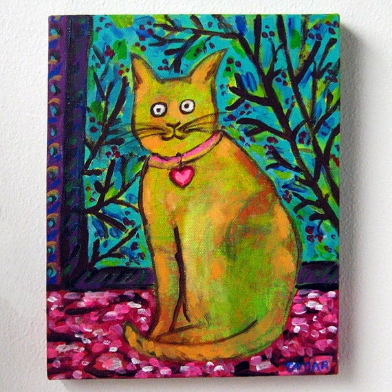 Original cat painting chat de matisse matisse 39 s cat for Peinture mural original