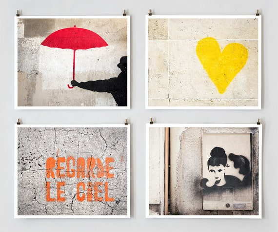Paris Graffiti Art, Gallery Wall Set, Modern Urban Art, Paris Photography, Colorful Wall Art Prints Home Decor