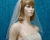 Bridal Veil one Tier  Less Full with a Satin Rattail Trim  Shoulder to Waltz Length
