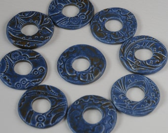 Pottery Stormy Blue Washer Bead