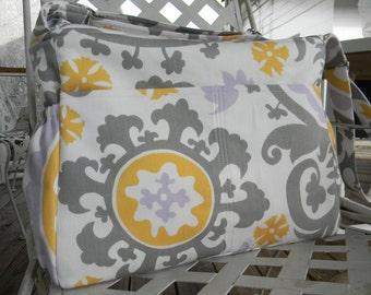 Gray Diaper Bag  with Top Zipper Closure