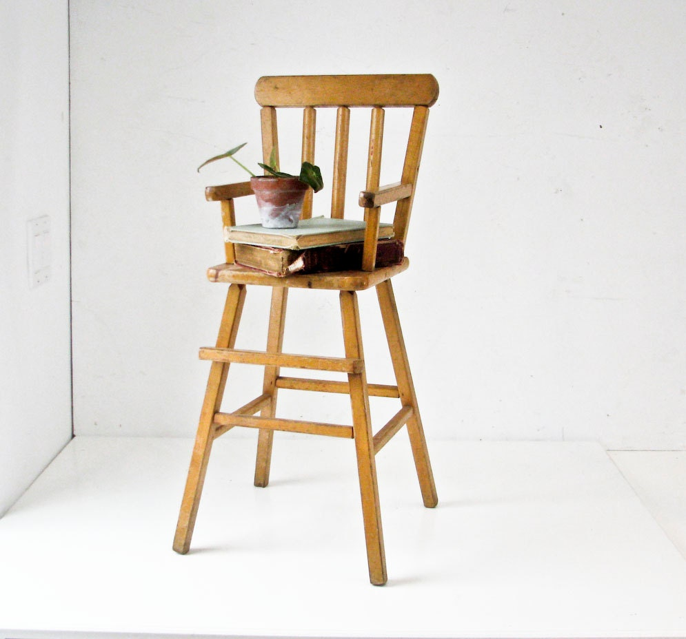 Doll High Chair Wood Toy Furniture Plant Stand By BeeJayKay