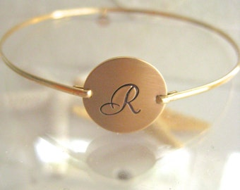 Gold Initial Bangle - Personalized Hand Stamped Script Initial Bracelet