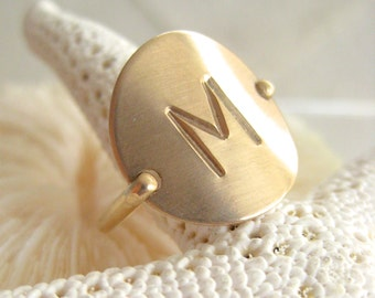 Gold Initial Ring - Hand Stamped & Personalized -also in Sterling Silver