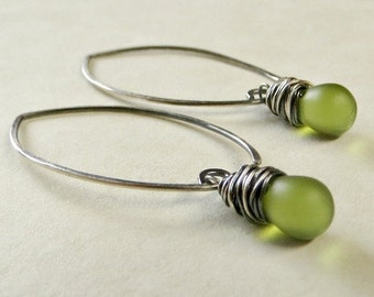Olive Green Wire Wrapped Drop Earrings Glass Teardrop Earrings Eco Friendly Jewelry Almond Ear Wires Gifts foir Her