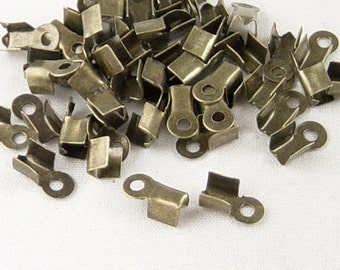 CLEARANCE Cord Tips 200 Bronze Fold Over End Clamp Jewelry Connector 9mm Crimp (1023con09z1)os