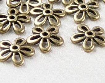 Bronze Bead Cap 50 Antique Bronze Flower Victorian 11.5mm NF (1060cap11z1)