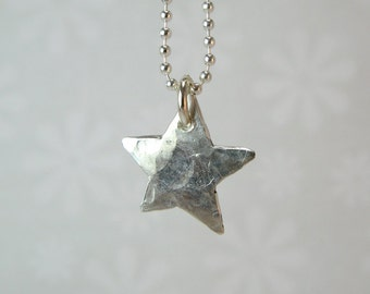 WISH STAR NECKLACE, sterling silver star pendant necklace