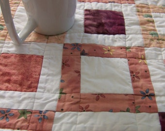 Modern Quilted Table Runner in Pinks