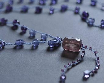 Royal Purple Beachglass crocheted long tunic necklace