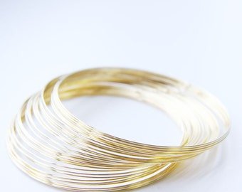 """0.5 OZ. Gold Plated Stainless Steel Beadalon Memory Wire -Bracelet  2.25""""-2.63"""""""
