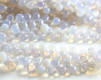 50pcs Czech Glass Tear Drops-Milky Light Amethyst 8x6mm (8621000) (B-8-17)
