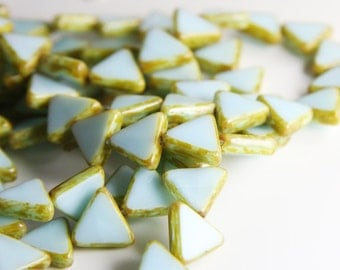 10pcs Czech Table Cut Polished Triangles-Coral Baby Blue Picasso 12mm (12T64000)  (B-12-24)