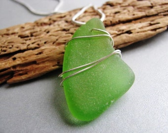 Beach Glass Pendant - Kelly Green - Sterling Silver - Wire Wrapped - Sea Glass jewelry