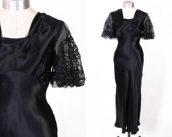 Vintage 30s Dress //  1930s Dress // Black Bias Cut Dress // Liquid Satin Dress // Floor Length Glamour Gown // Net Sleeves sz S - 26 Waist