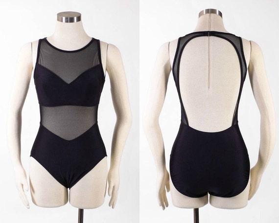 Vintage 1980's Swimsuit - The NOS Mesh Body Con Peekaboo Bikini Illusion Pin Up Suit - sz M