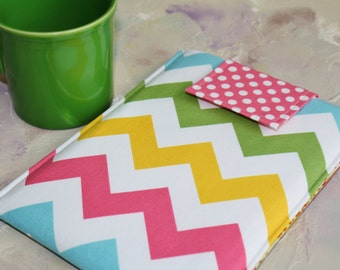 Kindle Case, kindle touch case, kindle sleeve, nook Cover  kindle Case Nook Color, Kobo, Sony - Cozy  in Colorful Chevron