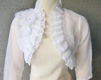 Wedding Bolero Shrug White Chiffon With Flowers and Rhinestones 3/4 Sleeves