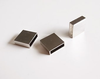 10 piece of newly made thick brass tube flat rectangular shape box cube 3x10x10 mm Plated in steel color