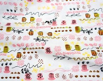Japanese fabric Coffee time theme (n341)